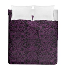 Damask2 Black Marble & Purple Leather (r) Duvet Cover Double Side (full/ Double Size) by trendistuff