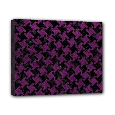 Houndstooth2 Black Marble & Purple Leather Canvas 10  X 8  by trendistuff