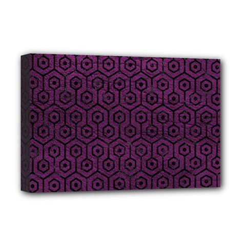 Hexagon1 Black Marble & Purple Leather Deluxe Canvas 18  X 12   by trendistuff