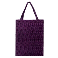 Hexagon1 Black Marble & Purple Leather Classic Tote Bag by trendistuff
