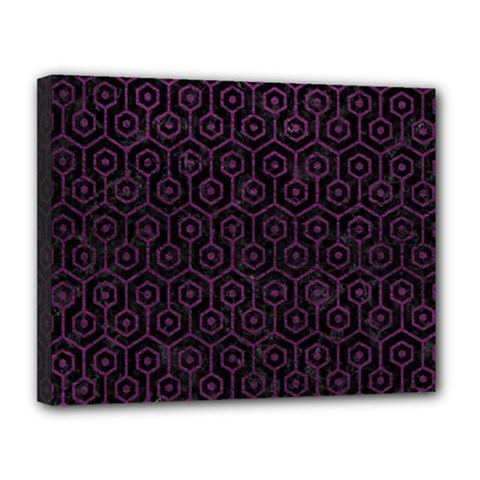 Hexagon1 Black Marble & Purple Leather (r) Canvas 14  X 11  by trendistuff