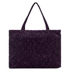 Hexagon1 Black Marble & Purple Leather (r) Zipper Medium Tote Bag by trendistuff