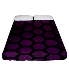 Hexagon2 Black Marble & Purple Leather Fitted Sheet (california King Size) by trendistuff