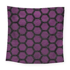 Hexagon2 Black Marble & Purple Leather Square Tapestry (large) by trendistuff