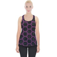 Hexagon2 Black Marble & Purple Leather (r) Piece Up Tank Top