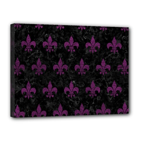Royal1 Black Marble & Purple Leather Canvas 16  X 12  by trendistuff