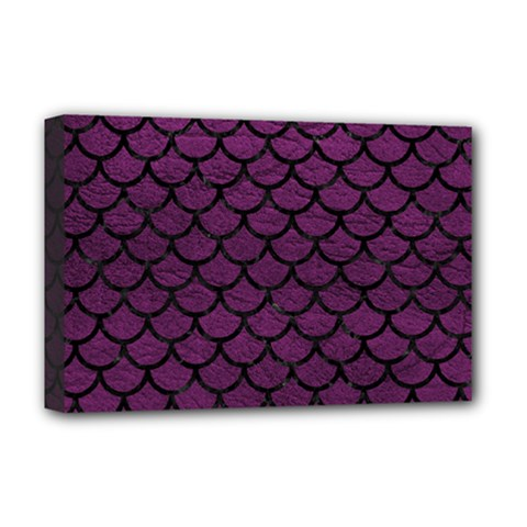 Scales1 Black Marble & Purple Leather Deluxe Canvas 18  X 12   by trendistuff