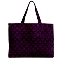 Scales2 Black Marble & Purple Leather Zipper Mini Tote Bag by trendistuff