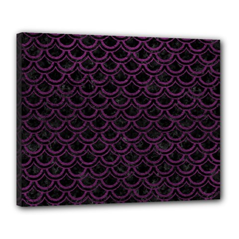 Scales2 Black Marble & Purple Leather (r) Canvas 20  X 16  by trendistuff