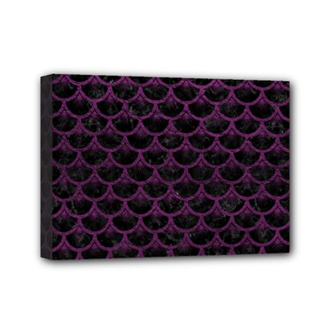 Scales3 Black Marble & Purple Leather (r) Mini Canvas 7  X 5  by trendistuff