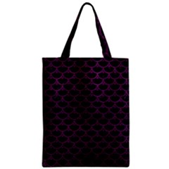 Scales3 Black Marble & Purple Leather (r) Zipper Classic Tote Bag by trendistuff