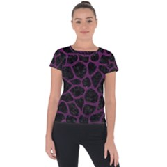 Skin1 Black Marble & Purple Leather Short Sleeve Sports Top