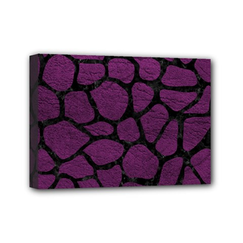 Skin1 Black Marble & Purple Leather (r) Mini Canvas 7  X 5  by trendistuff