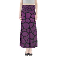 Skin1 Black Marble & Purple Leather (r) Full Length Maxi Skirt
