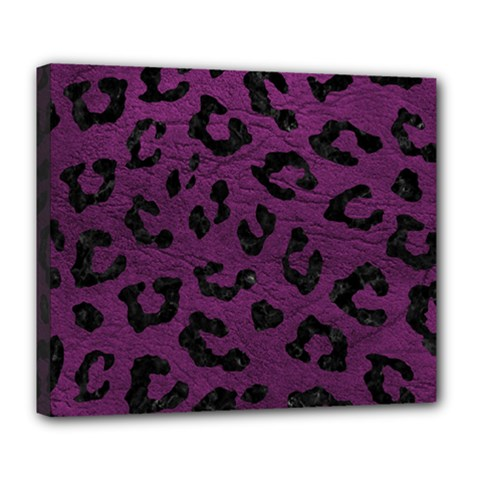 Skin5 Black Marble & Purple Leather (r) Deluxe Canvas 24  X 20   by trendistuff