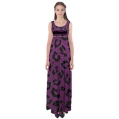 Skin5 Black Marble & Purple Leather (r) Empire Waist Maxi Dress