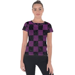 Square1 Black Marble & Purple Leather Short Sleeve Sports Top