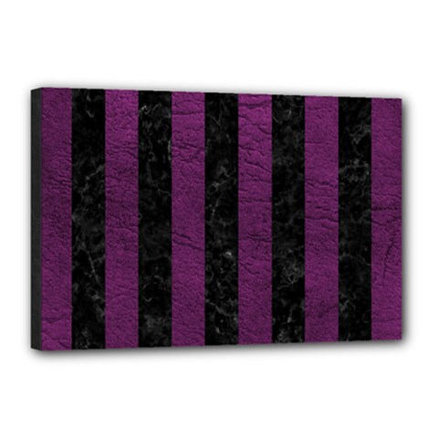 Stripes1 Black Marble & Purple Leather Canvas 18  X 12  by trendistuff