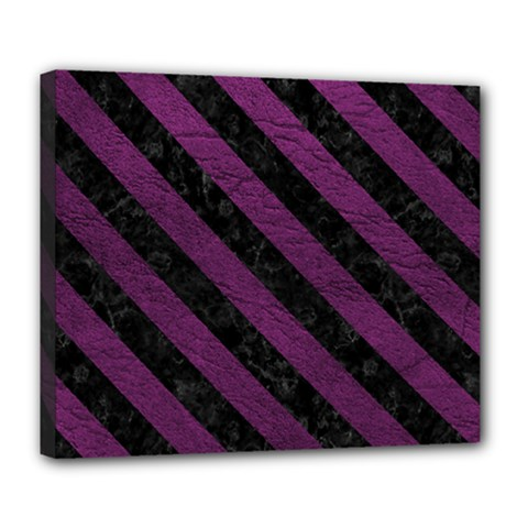Stripes3 Black Marble & Purple Leather Deluxe Canvas 24  X 20   by trendistuff