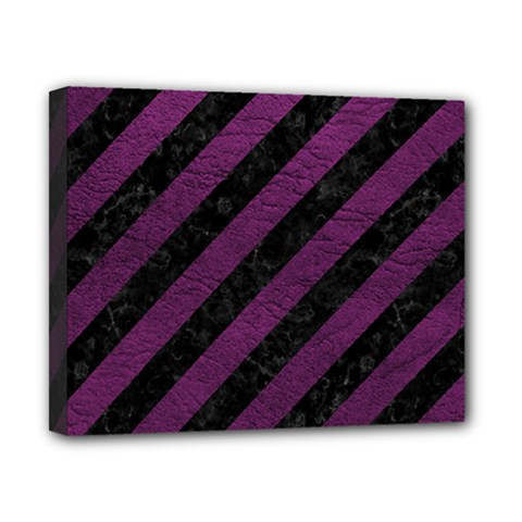 Stripes3 Black Marble & Purple Leather (r) Canvas 10  X 8  by trendistuff