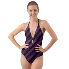 Stripes3 Black Marble & Purple Leather (r) Halter Cut Out One Piece Swimsuit