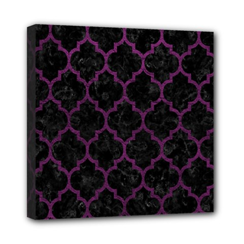 Tile1 Black Marble & Purple Leather (r) Mini Canvas 8  X 8  by trendistuff