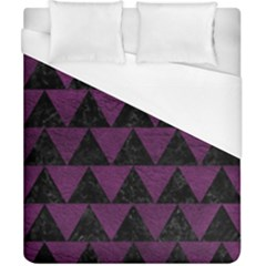Triangle2 Black Marble & Purple Leather Duvet Cover (california King Size) by trendistuff