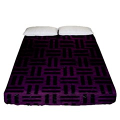 Woven1 Black Marble & Purple Leather Fitted Sheet (queen Size) by trendistuff