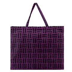 Woven1 Black Marble & Purple Leather Zipper Large Tote Bag by trendistuff