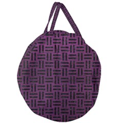 Woven1 Black Marble & Purple Leather Giant Round Zipper Tote by trendistuff