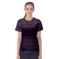 Woven1 Black Marble & Purple Leather (r) Women s Sport Mesh Tee by trendistuff