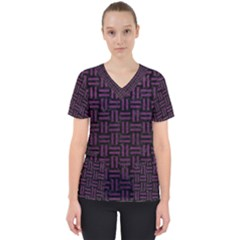 Woven1 Black Marble & Purple Leather (r) Scrub Top by trendistuff