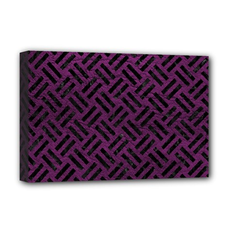 Woven2 Black Marble & Purple Leather Deluxe Canvas 18  X 12   by trendistuff