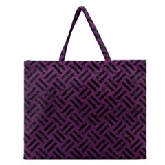 Woven2 Black Marble & Purple Leather Zipper Large Tote Bag by trendistuff