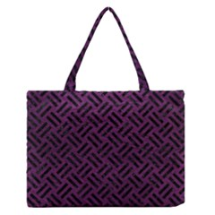 Woven2 Black Marble & Purple Leather Zipper Medium Tote Bag by trendistuff