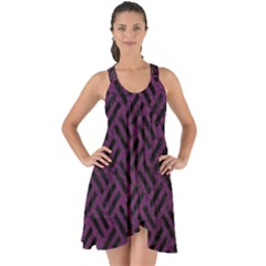 Woven2 Black Marble & Purple Leather Show Some Back Chiffon Dress