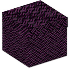 Woven2 Black Marble & Purple Leather (r) Storage Stool 12   by trendistuff