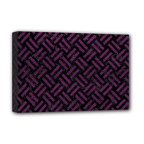 Woven2 Black Marble & Purple Leather (r) Deluxe Canvas 18  X 12   by trendistuff