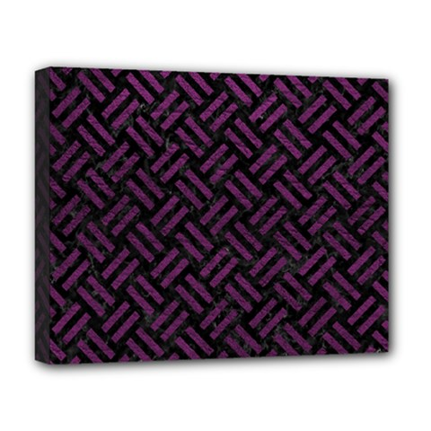 Woven2 Black Marble & Purple Leather (r) Deluxe Canvas 20  X 16   by trendistuff