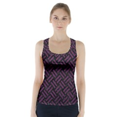 Woven2 Black Marble & Purple Leather (r) Racer Back Sports Top