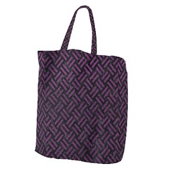 Woven2 Black Marble & Purple Leather (r) Giant Grocery Zipper Tote by trendistuff