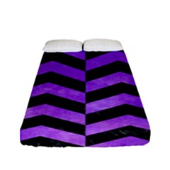 Chevron2 Black Marble & Purple Watercolor Fitted Sheet (full/ Double Size) by trendistuff