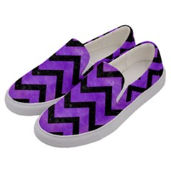 Chevron9 Black Marble & Purple Watercolor Men s Canvas Slip Ons by trendistuff