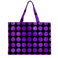 Circles1 Black Marble & Purple Watercolor (r) Zipper Mini Tote Bag by trendistuff