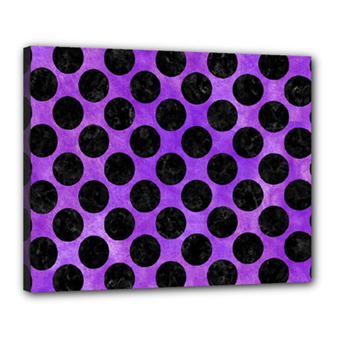 Circles2 Black Marble & Purple Watercolor Canvas 20  X 16  by trendistuff