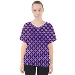 Circles3 Black Marble & Purple Watercolor V Neck Dolman Drape Top by trendistuff