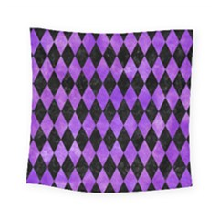 Diamond1 Black Marble & Purple Watercolor Square Tapestry (small) by trendistuff