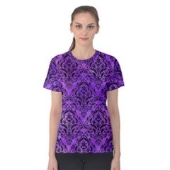 Damask1 Black Marble & Purple Watercolor Women s Cotton Tee by trendistuff