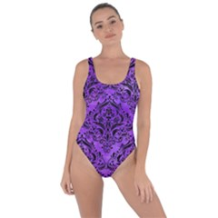 Damask1 Black Marble & Purple Watercolor Bring Sexy Back Swimsuit