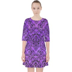 Damask1 Black Marble & Purple Watercolor Pocket Dress